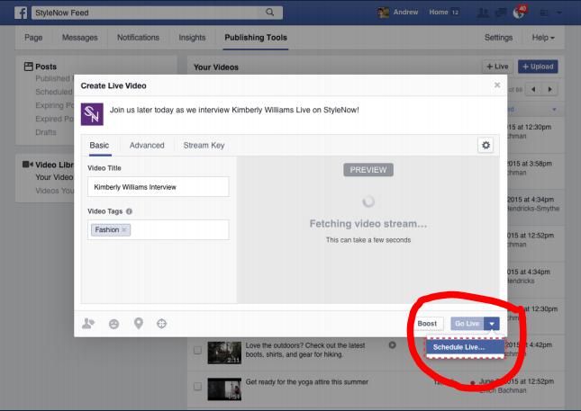 תזמון שידור חי בפייסבוק