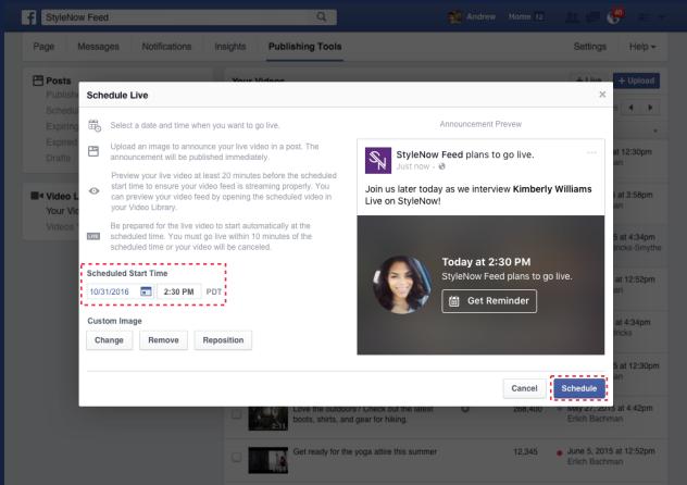תזמון שידור לייב בפייסבוק