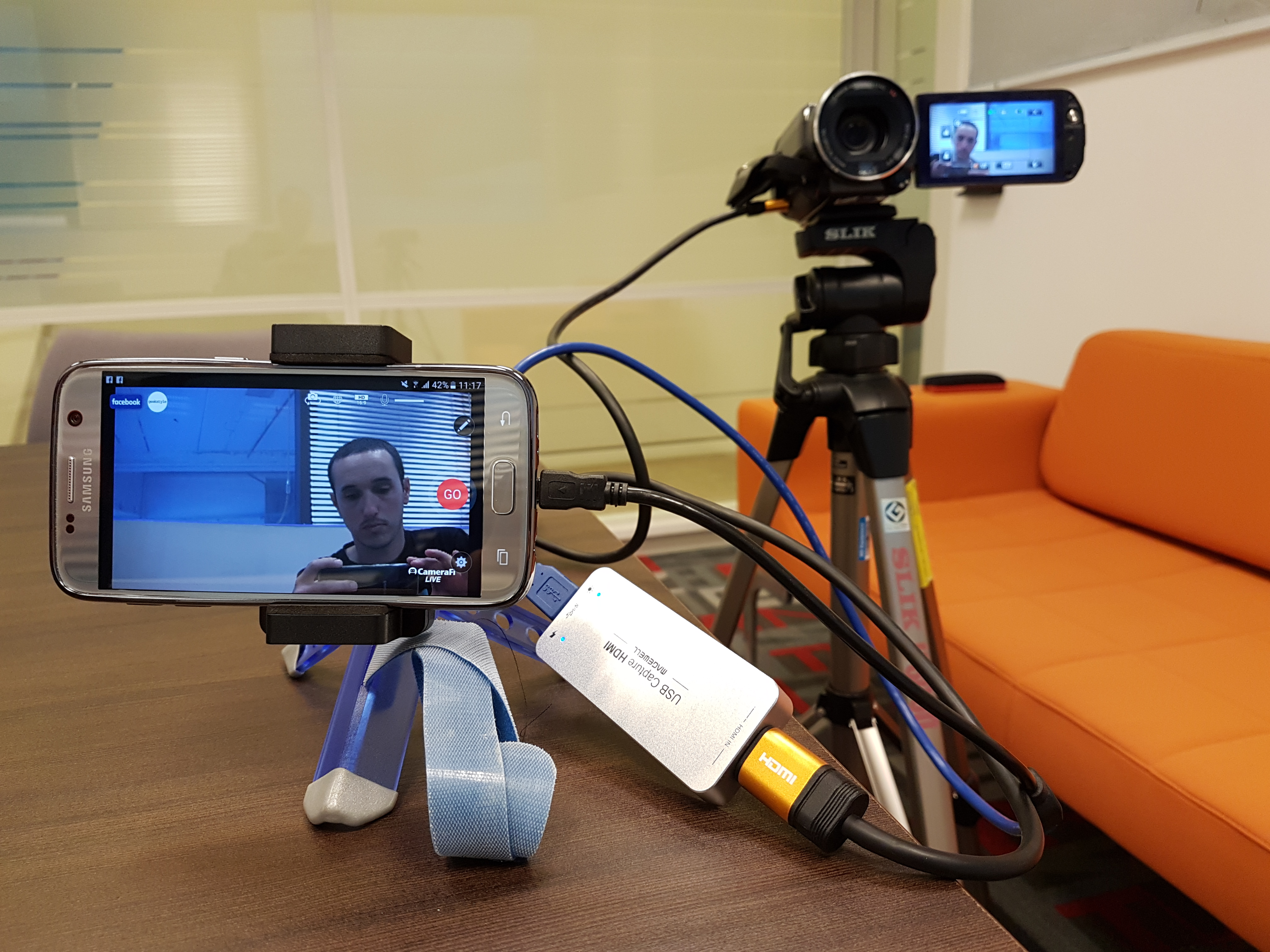 Facebook Live From A Pro Camera Using Smartphone Mobile Phone Otg Connect Kit For Android This Is How It Looks Connected